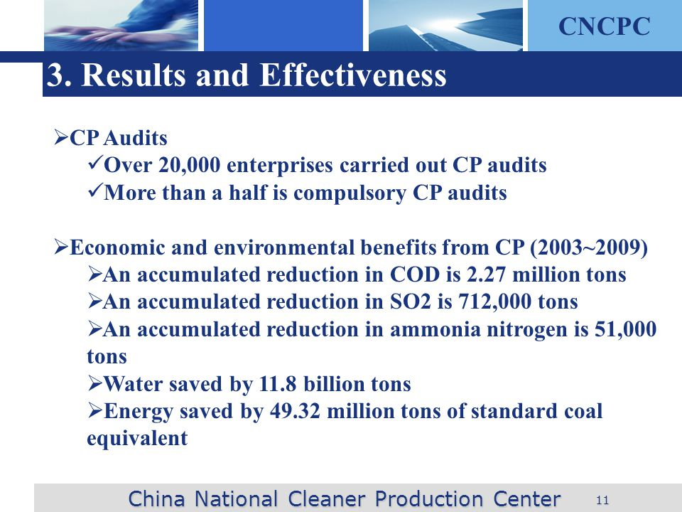CNCPC 11 3. Results and Effectiveness China National Cleaner Production Center CP Audits Over 20,000 enterprises carried out CP audits More than a hal