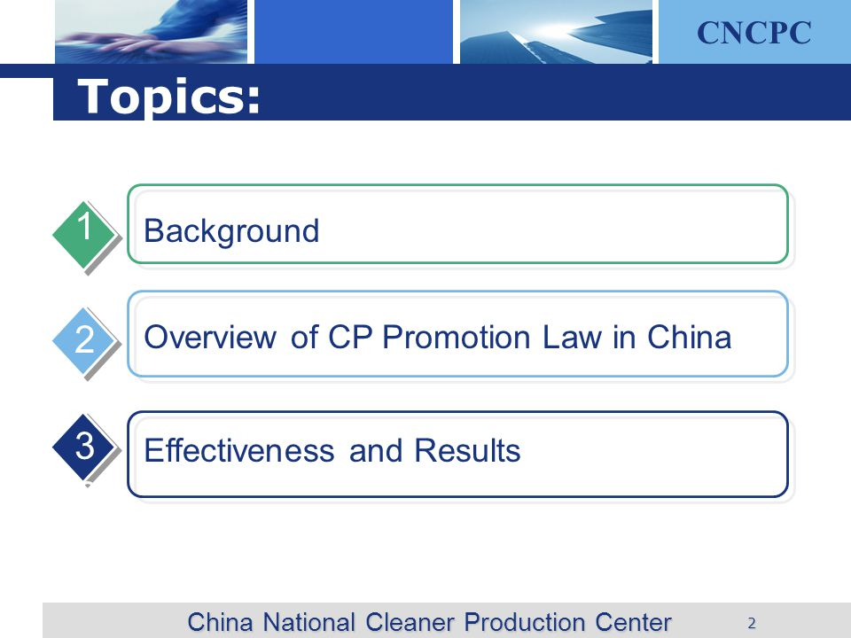 CNCPC 2 Background 1 Overview of CP Promotion Law in China 2 3 China National Cleaner Production Center Topics: 3 Effectiveness and Results