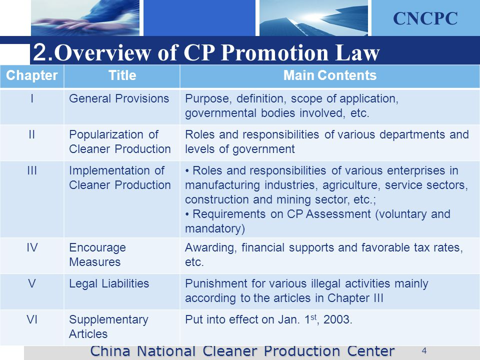 CNCPC 4 2. Overview of CP Promotion Law China National Cleaner Production Center ChapterTitleMain Contents IGeneral ProvisionsPurpose, definition, sco