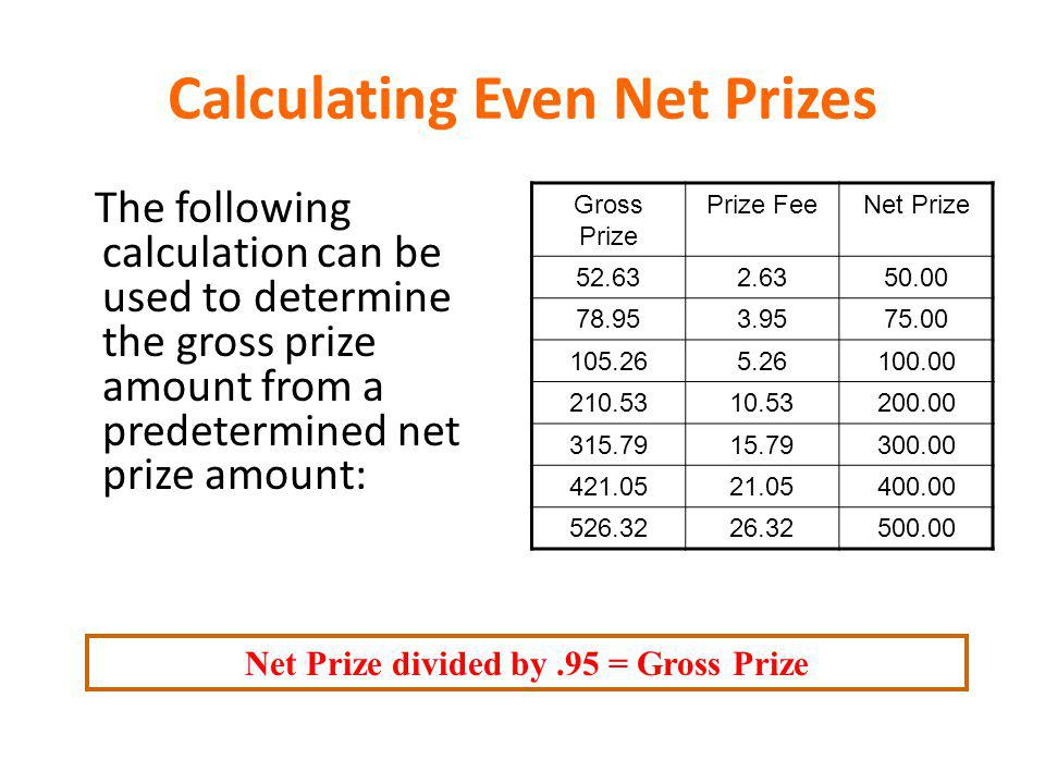 Calculating Even Net Prizes The following calculation can be used to determine the gross prize amount from a predetermined net prize amount: Gross Pri