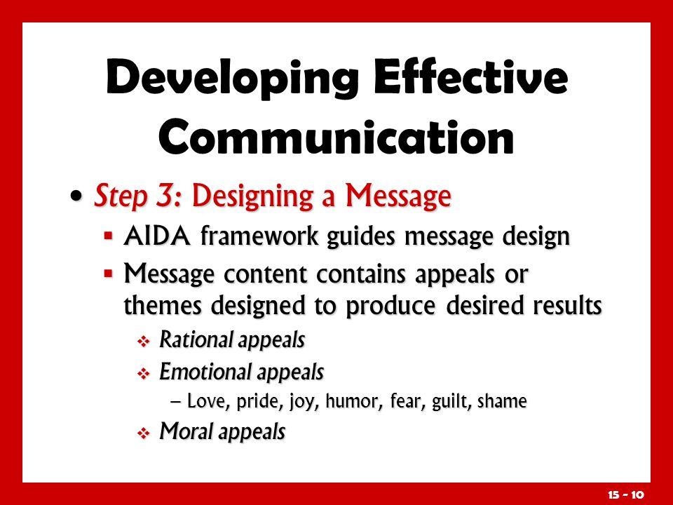15 - 10 Step 3: Designing a Message Step 3: Designing a Message AIDA framework guides message design AIDA framework guides message design Message cont