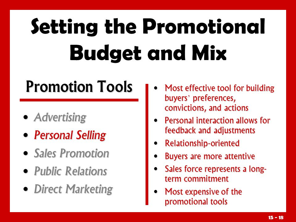 15 - 18 Setting the Promotional Budget and Mix Advertising Advertising Personal Selling Personal Selling Sales Promotion Sales Promotion Public Relati