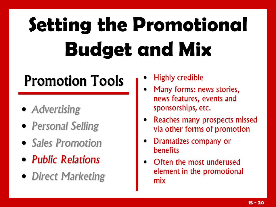 15 - 20 Setting the Promotional Budget and Mix Advertising Advertising Personal Selling Personal Selling Sales Promotion Sales Promotion Public Relati