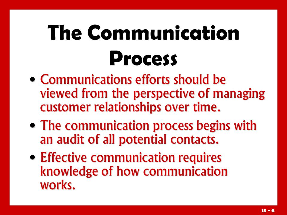 15 - 6 Communications efforts should be viewed from the perspective of managing customer relationships over time. Communications efforts should be vie