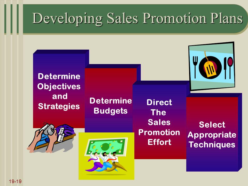 19-19 Developing Sales Promotion Plans Determine Objectives and Strategies Determine Budgets Direct The Sales Promotion Effort Select Appropriate Tech