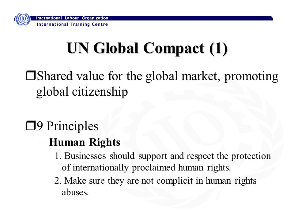 UN Global Compact (2) - Labour 3.