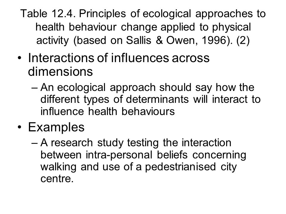 Table 12.4. Principles of ecological approaches to health behaviour change applied to physical activity (based on Sallis & Owen, 1996). (2) Interactio