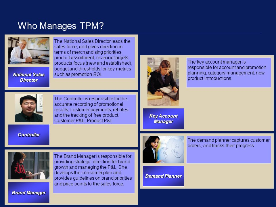 Who Manages TPM? Key Account Manager Brand Manager The National Sales Director leads the sales force, and gives direction in terms of merchandising pr
