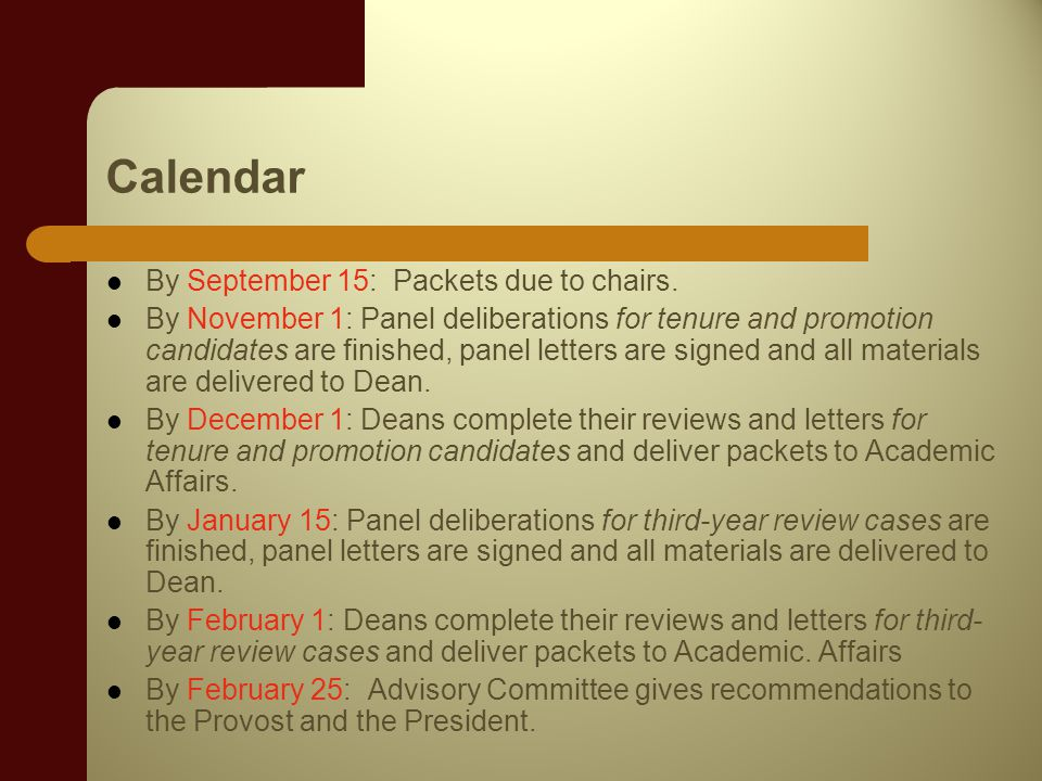 Calendar By September 15: Packets due to chairs.