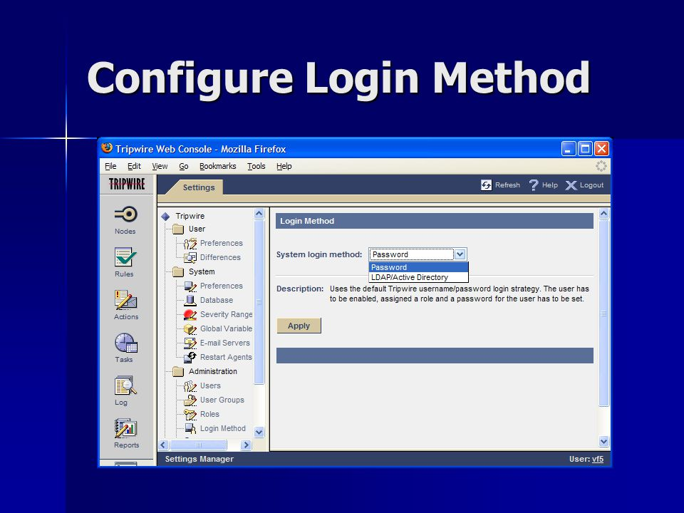 Configure Login Method