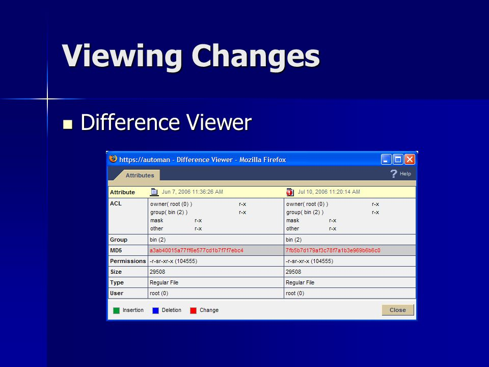 Viewing Changes Difference Viewer Difference Viewer