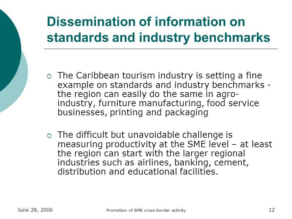 June 28, 2006 Promotion of SME cross-border activity 12 Dissemination of information on standards and industry benchmarks The Caribbean tourism industry is setting a fine example on standards and industry benchmarks - the region can easily do the same in agro- industry, furniture manufacturing, food service businesses, printing and packaging The difficult but unavoidable challenge is measuring productivity at the SME level – at least the region can start with the larger regional industries such as airlines, banking, cement, distribution and educational facilities.