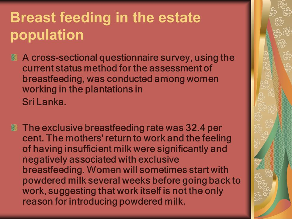 Breast feeding in the estate population A cross-sectional questionnaire survey, using the current status method for the assessment of breastfeeding, w