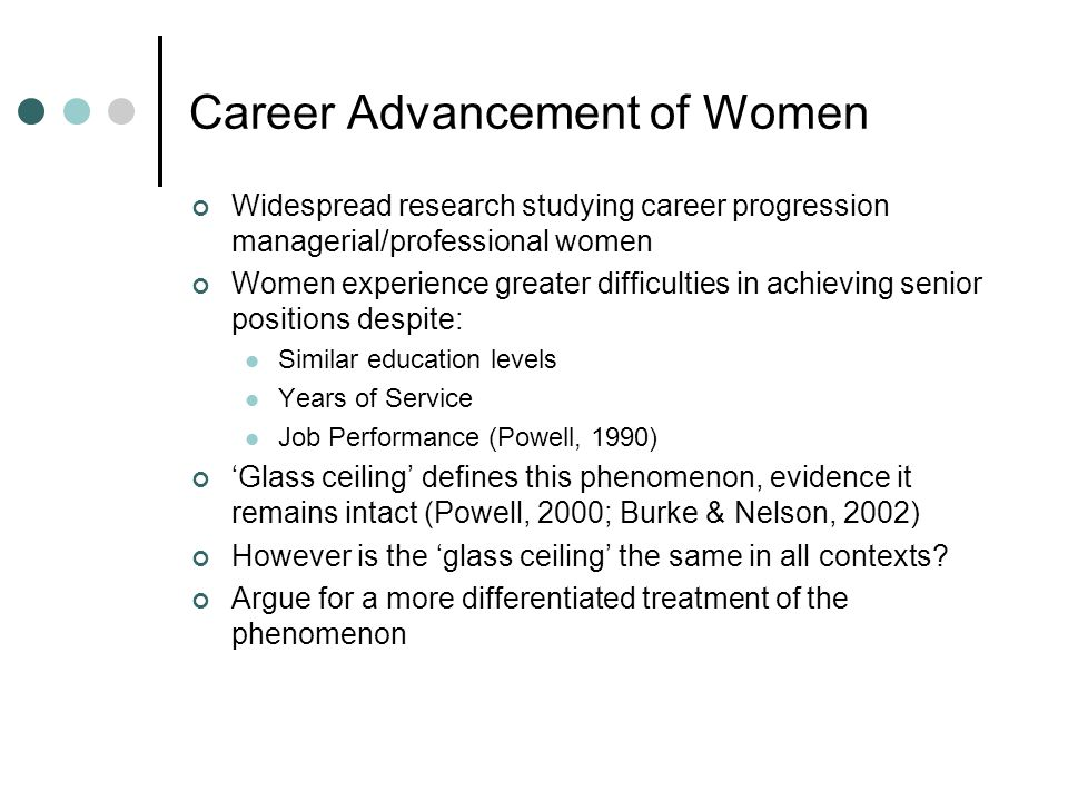 Career Advancement of Women Widespread research studying career progression managerial/professional women Women experience greater difficulties in achieving senior positions despite: Similar education levels Years of Service Job Performance (Powell, 1990) Glass ceiling defines this phenomenon, evidence it remains intact (Powell, 2000; Burke & Nelson, 2002) However is the glass ceiling the same in all contexts.