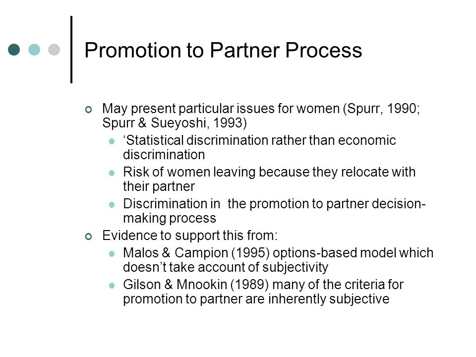 Promotion to Partner Process May present particular issues for women (Spurr, 1990; Spurr & Sueyoshi, 1993) Statistical discrimination rather than econ