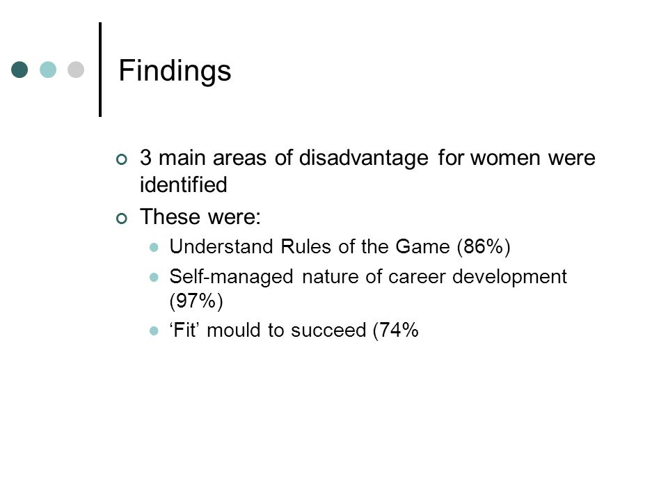 Findings 3 main areas of disadvantage for women were identified These were: Understand Rules of the Game (86%) Self-managed nature of career developme
