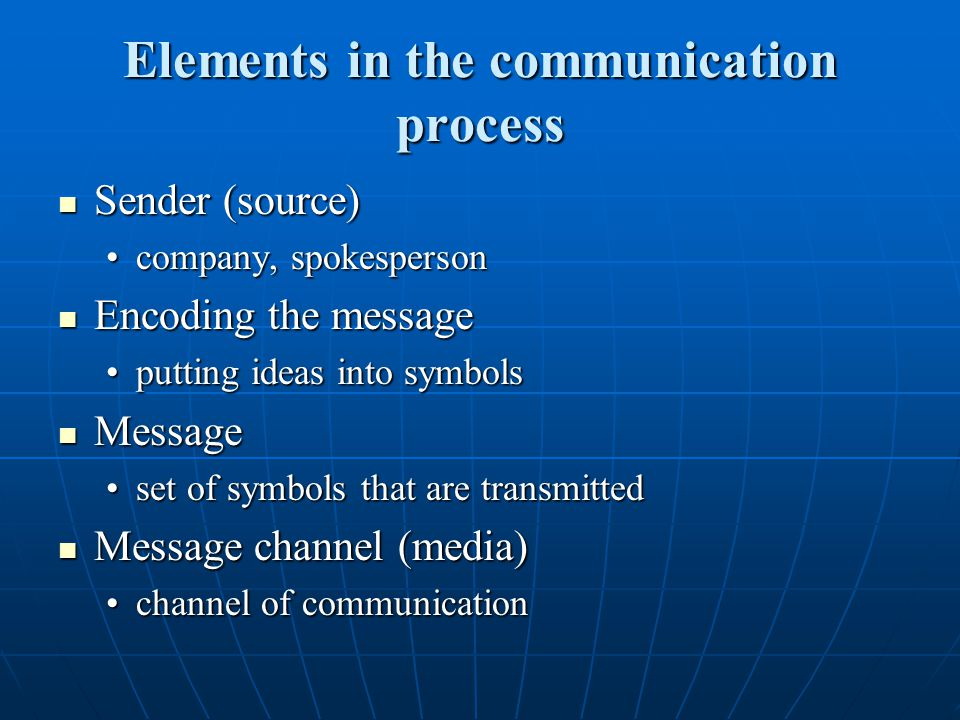 Elements in the communication process Sender (source) Sender (source) company, spokespersoncompany, spokesperson Encoding the message Encoding the mes