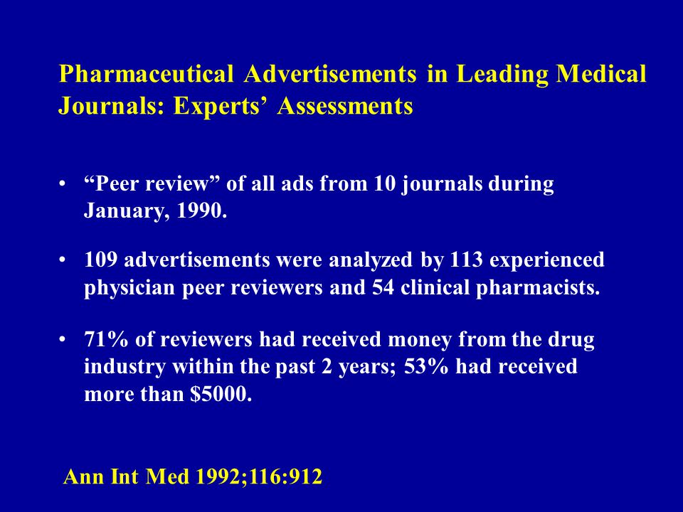 Pharmaceutical Advertisements in Leading Medical Journals: Experts Assessments Peer review of all ads from 10 journals during January, 1990. 109 adver