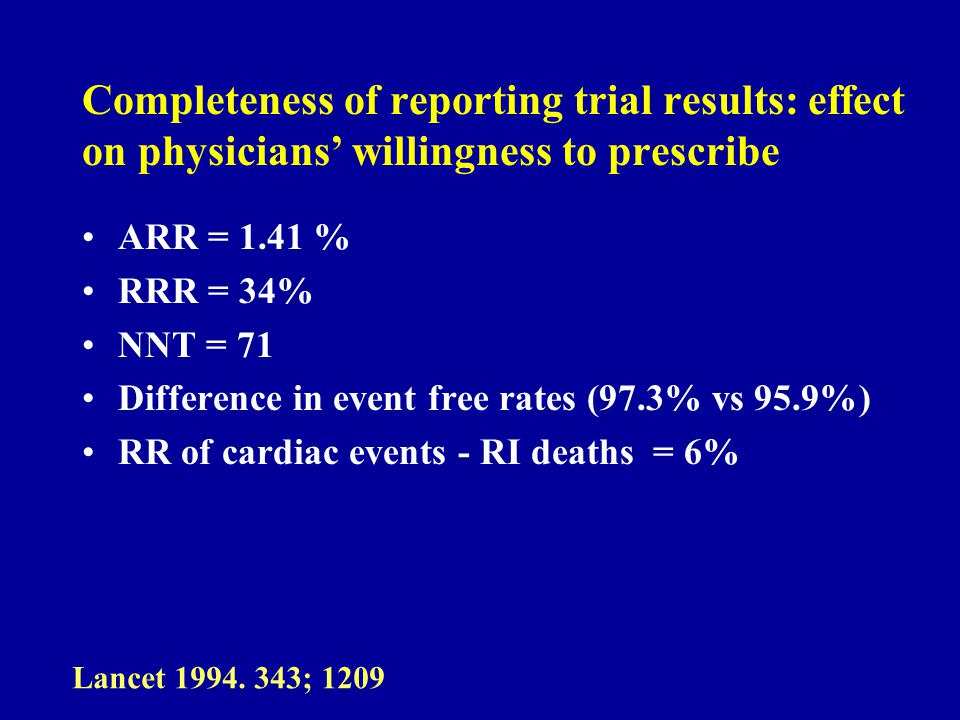 Completeness of reporting trial results: effect on physicians willingness to prescribe ARR = 1.41 % RRR = 34% NNT = 71 Difference in event free rates