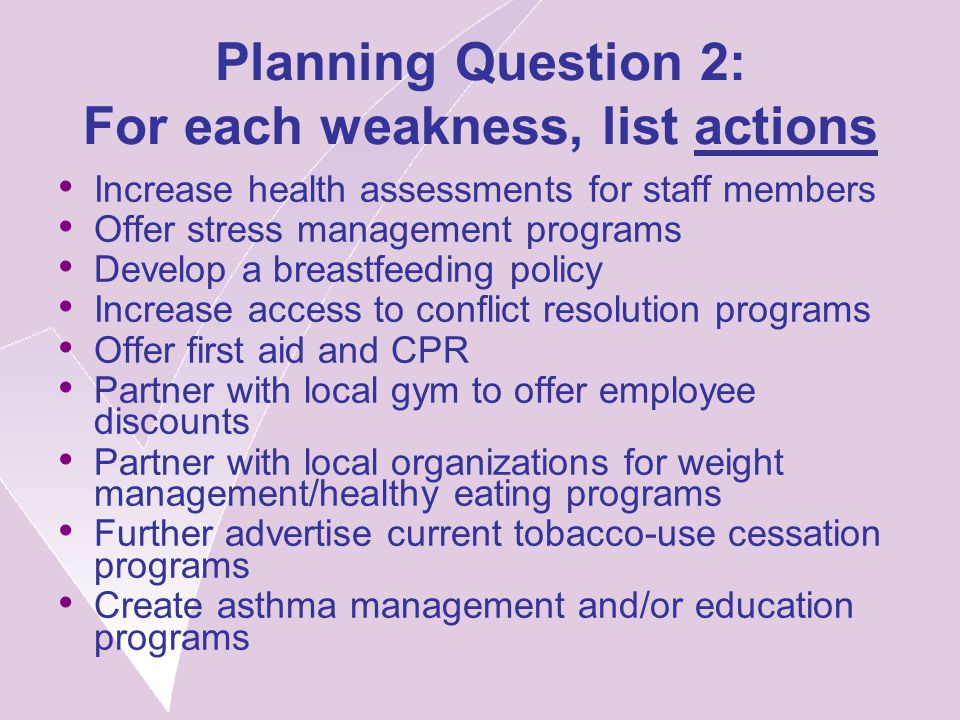 Planning Question 2: For each weakness, list actions Increase health assessments for staff members Offer stress management programs Develop a breastfeeding policy Increase access to conflict resolution programs Offer first aid and CPR Partner with local gym to offer employee discounts Partner with local organizations for weight management/healthy eating programs Further advertise current tobacco-use cessation programs Create asthma management and/or education programs