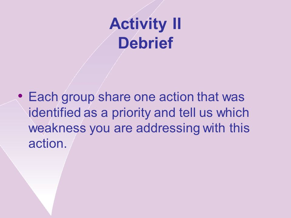 Activity II Debrief Each group share one action that was identified as a priority and tell us which weakness you are addressing with this action.