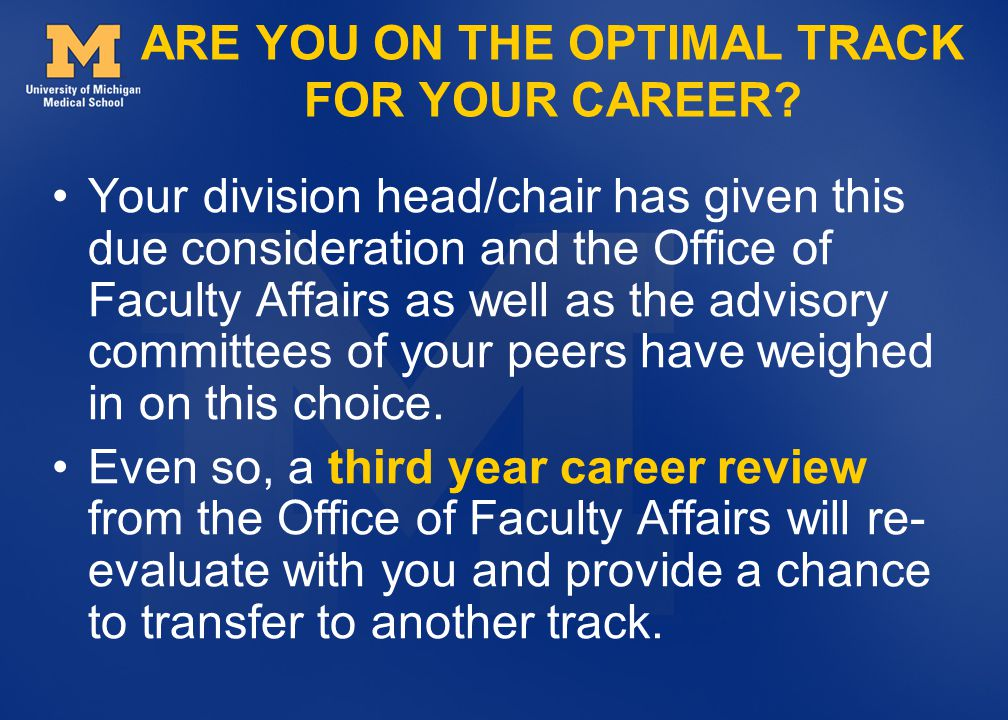 ARE YOU ON THE OPTIMAL TRACK FOR YOUR CAREER.