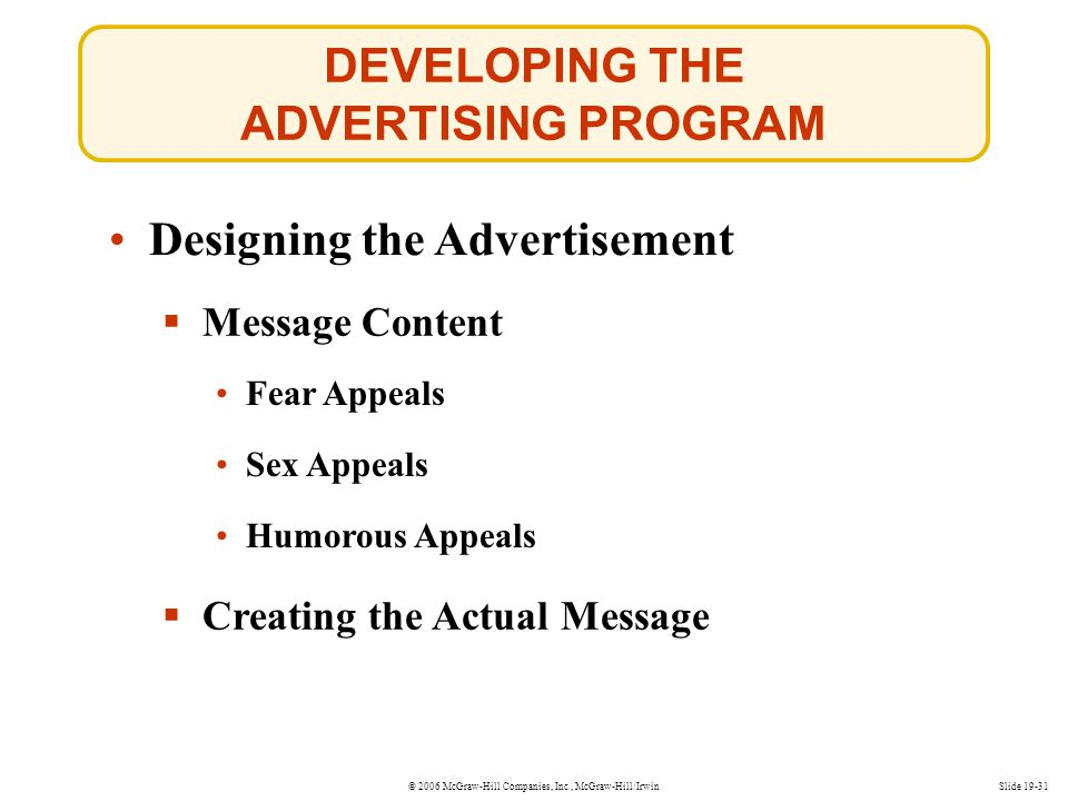 © 2006 McGraw-Hill Companies, Inc., McGraw-Hill/IrwinSlide 19-31 DEVELOPING THE ADVERTISING PROGRAM Designing the Advertisement Message Content Fear A