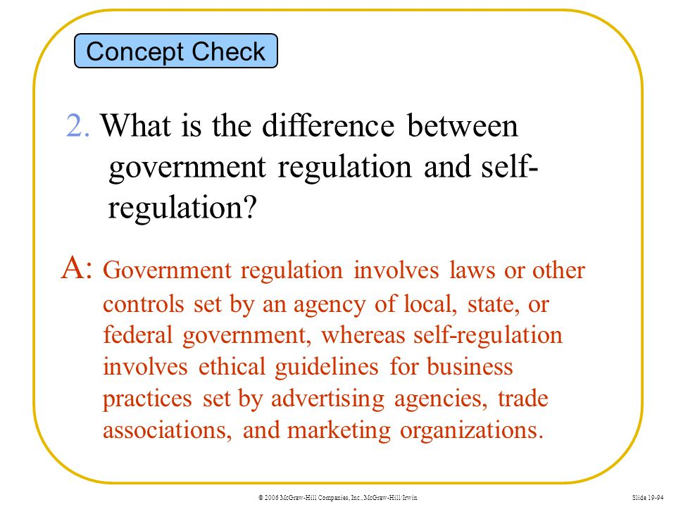 © 2006 McGraw-Hill Companies, Inc., McGraw-Hill/IrwinSlide 19-94 Concept Check 2. What is the difference between government regulation and self- regul
