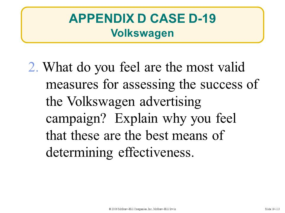 © 2006 McGraw-Hill Companies, Inc., McGraw-Hill/IrwinSlide 19-113 2. What do you feel are the most valid measures for assessing the success of the Vol