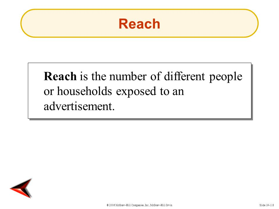 © 2006 McGraw-Hill Companies, Inc., McGraw-Hill/IrwinSlide 19-118 Reach Reach is the number of different people or households exposed to an advertisem