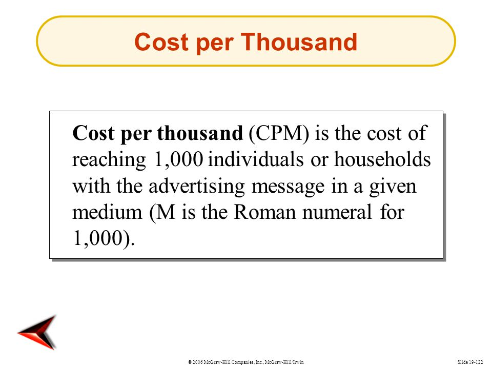 © 2006 McGraw-Hill Companies, Inc., McGraw-Hill/IrwinSlide 19-122 Cost per Thousand Cost per thousand (CPM) is the cost of reaching 1,000 individuals
