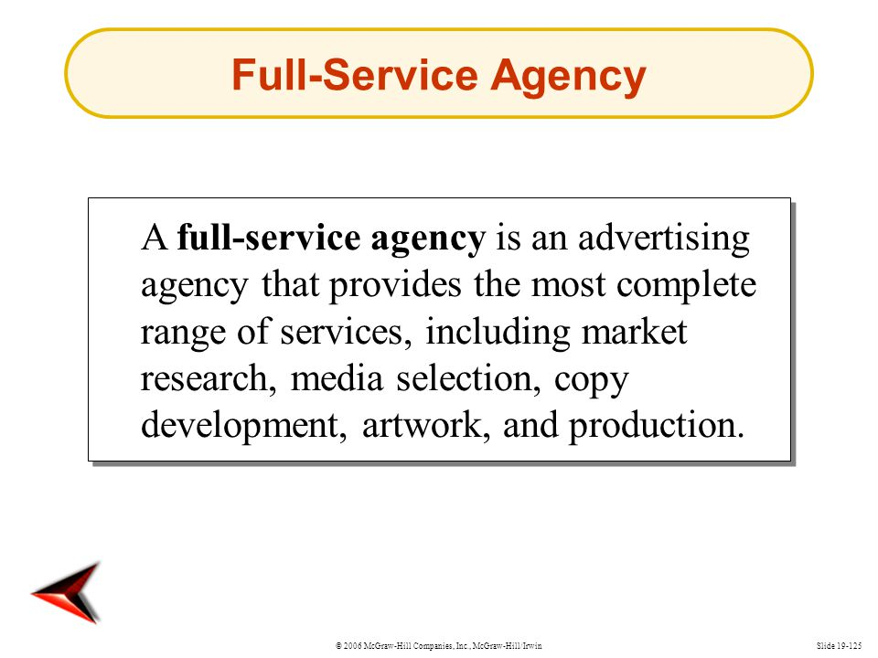 © 2006 McGraw-Hill Companies, Inc., McGraw-Hill/IrwinSlide 19-125 Full-Service Agency A full-service agency is an advertising agency that provides the