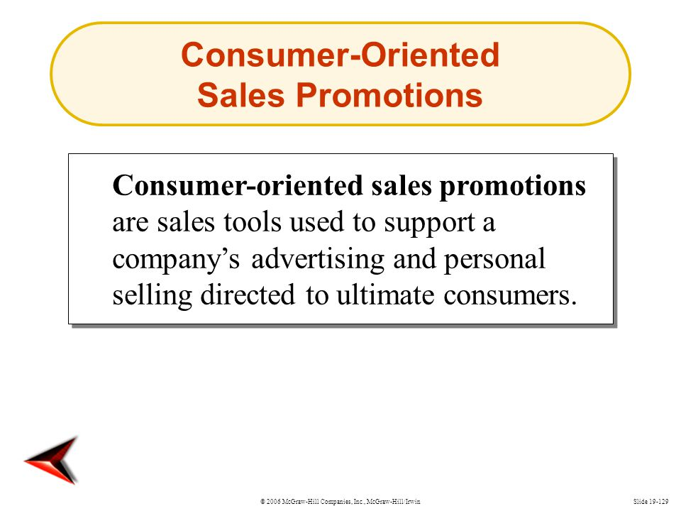 © 2006 McGraw-Hill Companies, Inc., McGraw-Hill/IrwinSlide 19-129 Consumer-Oriented Sales Promotions Consumer-oriented sales promotions are sales tool