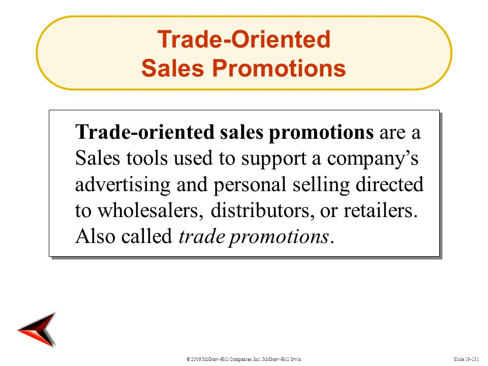 © 2006 McGraw-Hill Companies, Inc., McGraw-Hill/IrwinSlide 19-131 Trade-oriented sales promotions are a Sales tools used to support a companys adverti