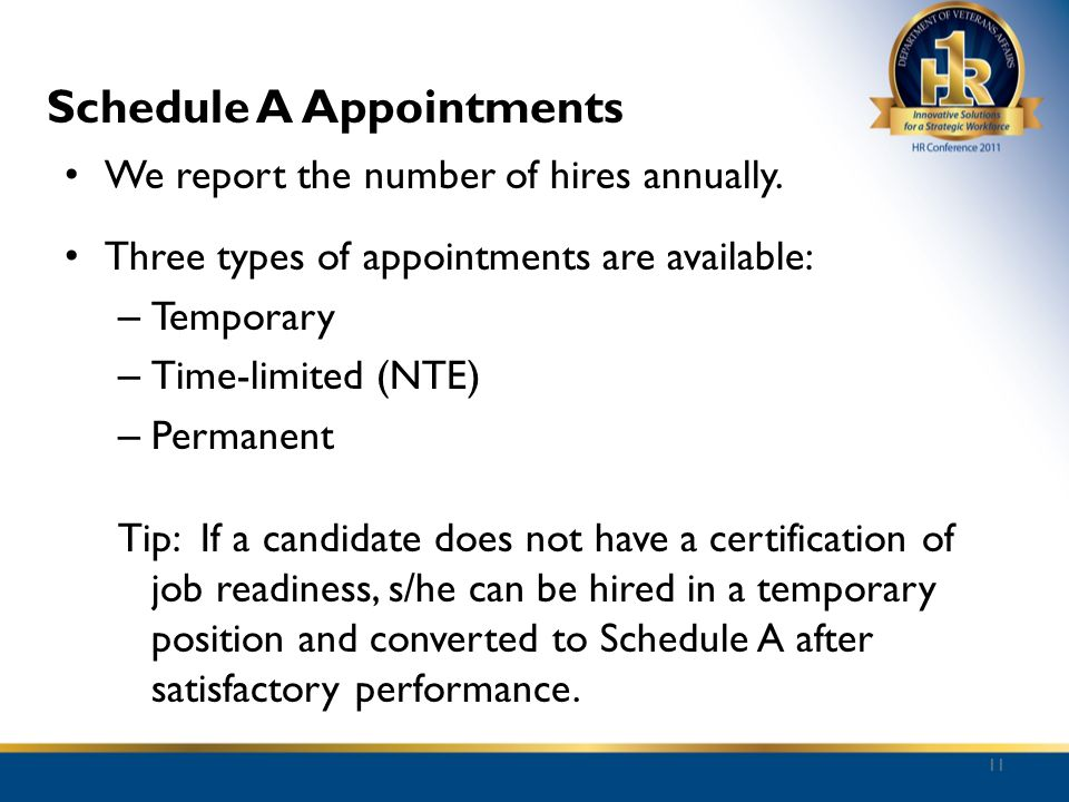 Schedule A Appointments We report the number of hires annually. Three types of appointments are available: – Temporary – Time-limited (NTE) – Permanen