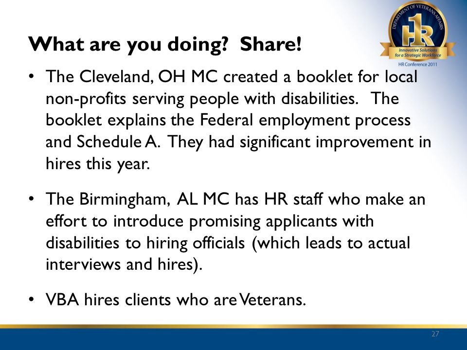 What are you doing? Share! The Cleveland, OH MC created a booklet for local non-profits serving people with disabilities. The booklet explains the Fed