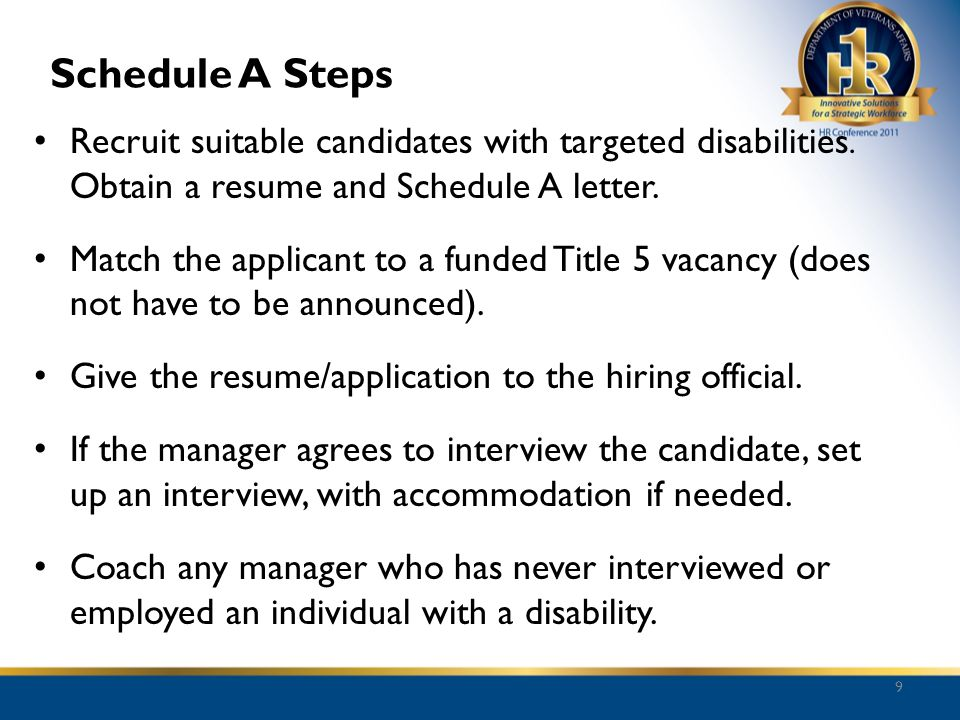 Schedule A Steps Recruit suitable candidates with targeted disabilities. Obtain a resume and Schedule A letter. Match the applicant to a funded Title