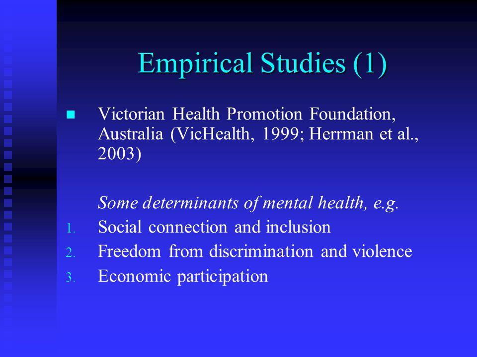 Empirical Studies (1) Victorian Health Promotion Foundation, Australia (VicHealth, 1999; Herrman et al., 2003) Some determinants of mental health, e.g