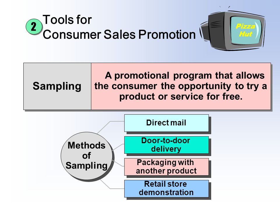 Sampling A promotional program that allows the consumer the opportunity to try a product or service for free. Tools for Consumer Sales Promotion Pizza