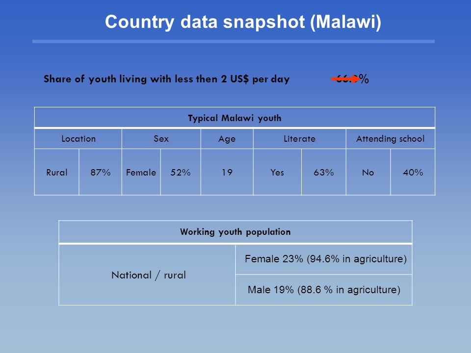 Country data snapshot (Malawi) Share of youth living with less then 2 US$ per day 66.3% Typical Malawi youth LocationSexAgeLiterateAttending school Rural87%Female52%19Yes63%No40% Working youth population National / rural Female 23% (94.6% in agriculture) Male 19% (88.6 % in agriculture)