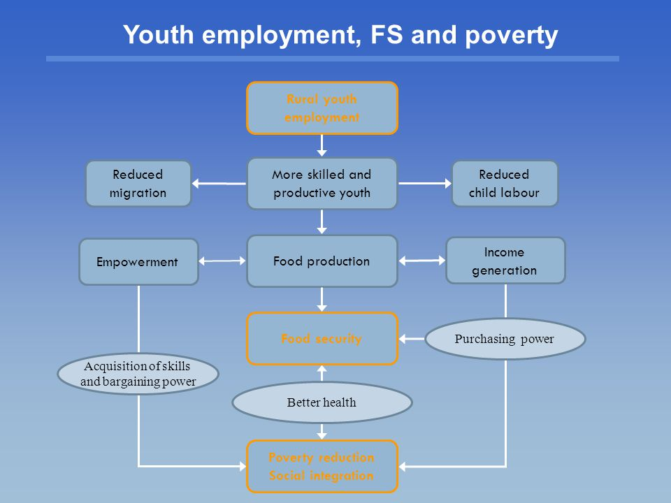 Acquisition of skills and bargaining power Reduced child labour Reduced migration Rural youth employment Poverty reduction Social integration Income generation More skilled and productive youth Food production Empowerment Food security Better health Purchasing power Youth employment, FS and poverty