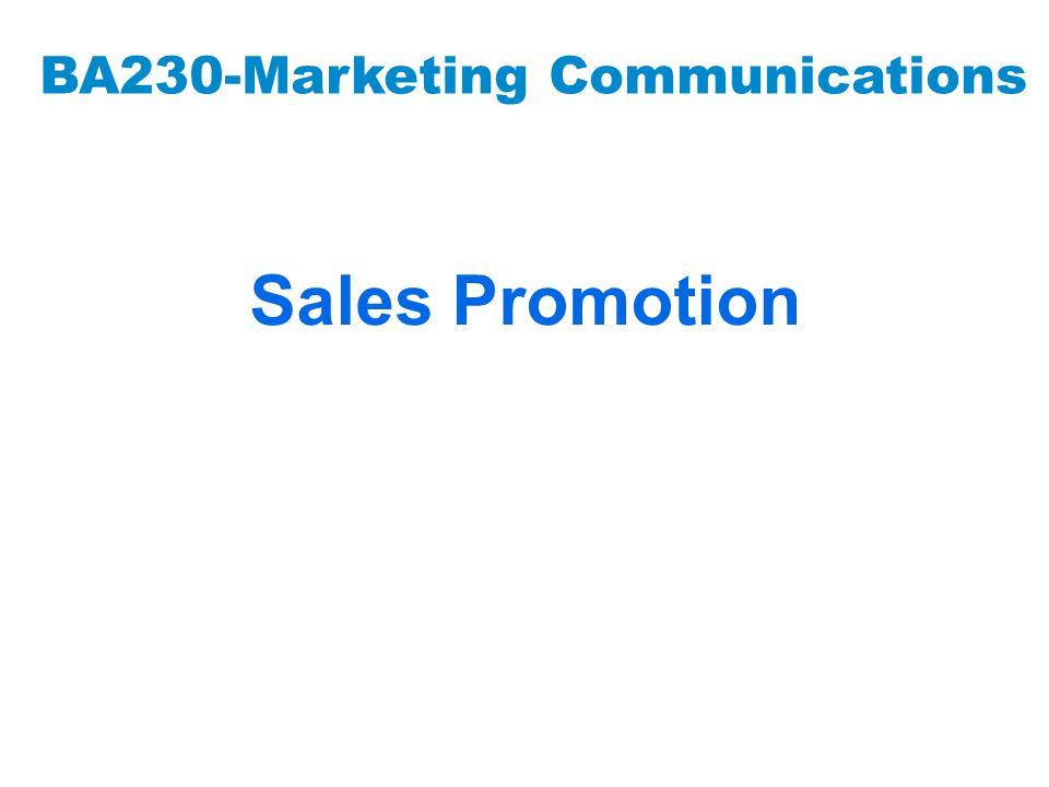 BA230-Marketing Communications Sales Promotion