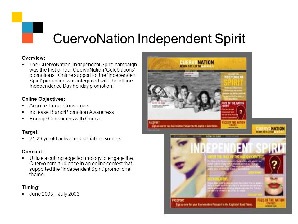 CuervoNation Independent Spirit Overview: The CuervoNation Independent Spirit campaign was the first of four CuervoNation Celebrations promotions. Onl