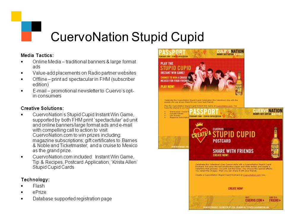 CuervoNation Stupid Cupid Media Tactics: Online Media – traditional banners & large format ads Value-add placements on Radio partner websites Offline