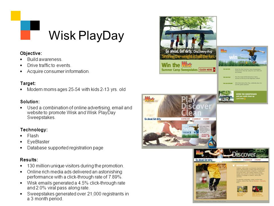 Wisk PlayDay Objective: Build awareness. Drive traffic to events. Acquire consumer information. Target: Modern moms ages 25-54 with kids 2-13 yrs. old