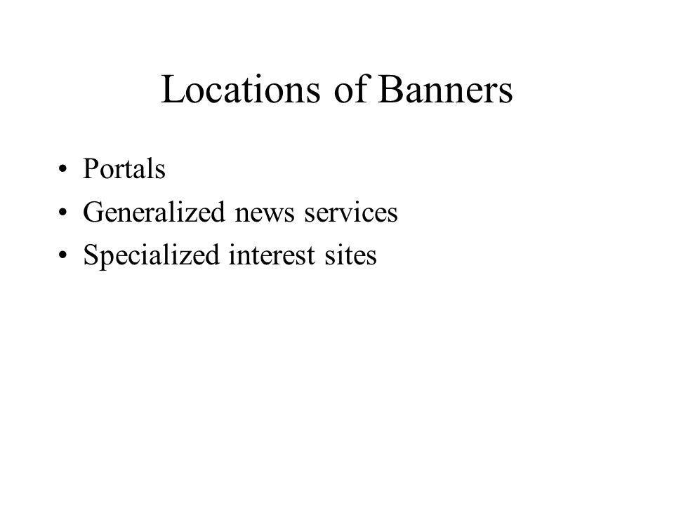 Locations of Banners Portals Generalized news services Specialized interest sites