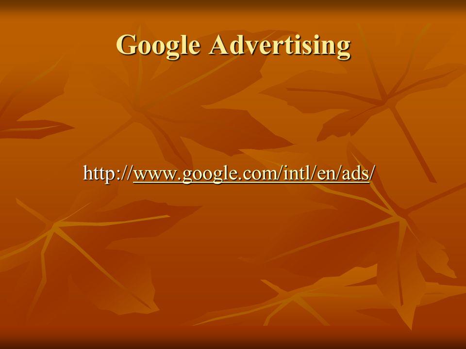 Google Advertising http://www.google.com/intl/en/ads/ www.google.com/intl/en/ads