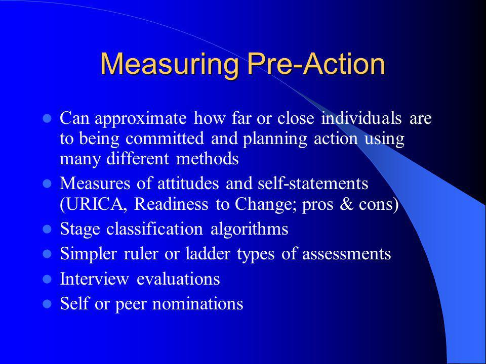Measuring Pre-Action Can approximate how far or close individuals are to being committed and planning action using many different methods Measures of