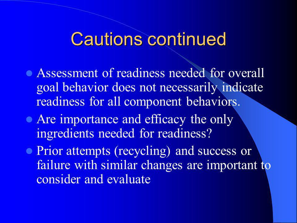 Cautions continued Assessment of readiness needed for overall goal behavior does not necessarily indicate readiness for all component behaviors. Are i
