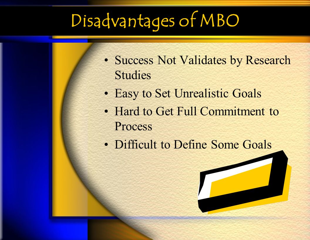 Disadvantages of MBO Success Not Validates by Research Studies Easy to Set Unrealistic Goals Hard to Get Full Commitment to Process Difficult to Defin